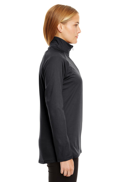 Under Armour 1300132 Womens Tech Moisture Wicking 1/4 Zip Sweatshirt Black Side
