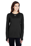 Under Armour 1305681 Womens Locker 2.0 Moisture Wicking Long Sleeve Crewneck T-Shirt Black Front