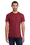 Threadfast Apparel 140A Mens Liquid Jersey Short Sleeve Crewneck T-Shirt Cardinal Red Front