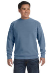 Comfort Colors 1566 Mens Crewneck Sweatshirt Blue Jean Front
