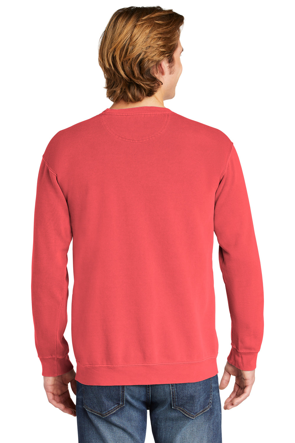 Comfort Colors 1566 Mens Crewneck Sweatshirt Watermelon Pink Back