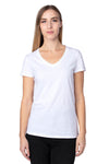 Threadfast Apparel 200RV Womens Ultimate Short Sleeve V-Neck T-Shirt White Front