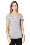 Threadfast Apparel 200RV Womens Ultimate Short Sleeve V-Neck T-Shirt Heather Grey Front