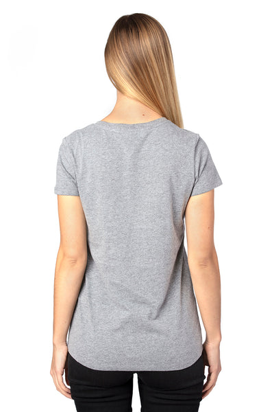 Threadfast Apparel 200RV Womens Ultimate Short Sleeve V-Neck T-Shirt Heather Grey Back