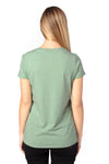 Threadfast Apparel 200RV Womens Ultimate Short Sleeve V-Neck T-Shirt Heather Army Green Back