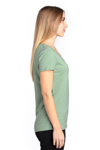 Threadfast Apparel 200RV Womens Ultimate Short Sleeve V-Neck T-Shirt Heather Army Green Side