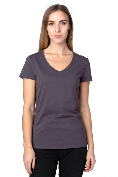 Threadfast Apparel 200RV Womens Ultimate Short Sleeve V-Neck T-Shirt Graphite Grey Front