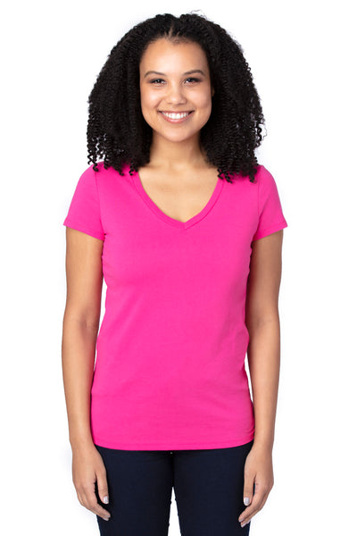 Threadfast Apparel 200RV Womens Ultimate Short Sleeve V-Neck T-Shirt Hot Pink Front