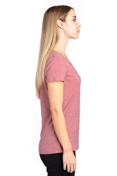 Threadfast Apparel 200RV Womens Ultimate Short Sleeve V-Neck T-Shirt Heather Maroon Side