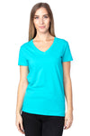 Threadfast Apparel 200RV Womens Ultimate Short Sleeve V-Neck T-Shirt Pacific Blue Front
