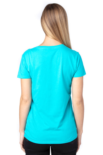 Threadfast Apparel 200RV Womens Ultimate Short Sleeve V-Neck T-Shirt Pacific Blue Back