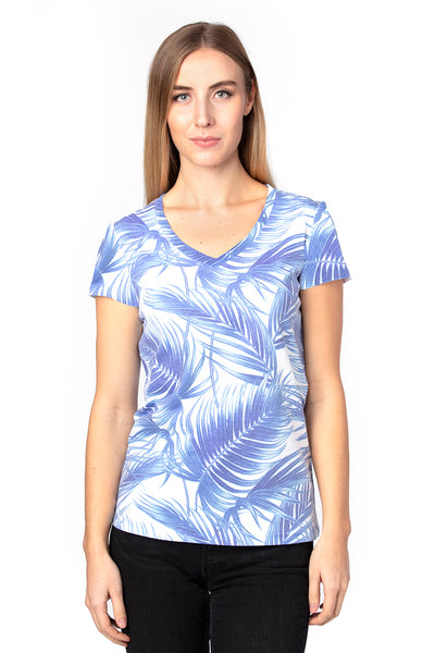 Threadfast Apparel 200RV Womens Ultimate Short Sleeve V-Neck T-Shirt Palm Paradise Front