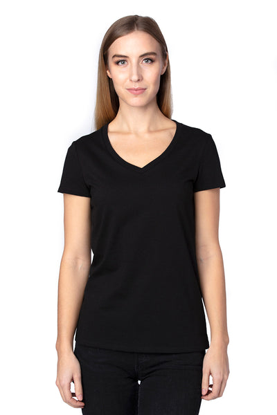 Threadfast Apparel 200RV Womens Ultimate Short Sleeve V-Neck T-Shirt Black Front