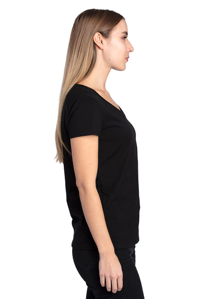 Threadfast Apparel 200RV Womens Ultimate Short Sleeve V-Neck T-Shirt Black Side