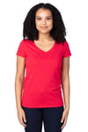 Threadfast Apparel 200RV Womens Ultimate Short Sleeve V-Neck T-Shirt Red Front