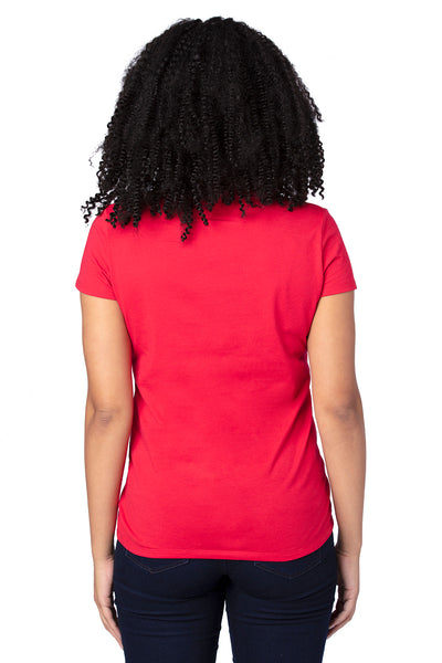 Threadfast Apparel 200RV Womens Ultimate Short Sleeve V-Neck T-Shirt Red Back