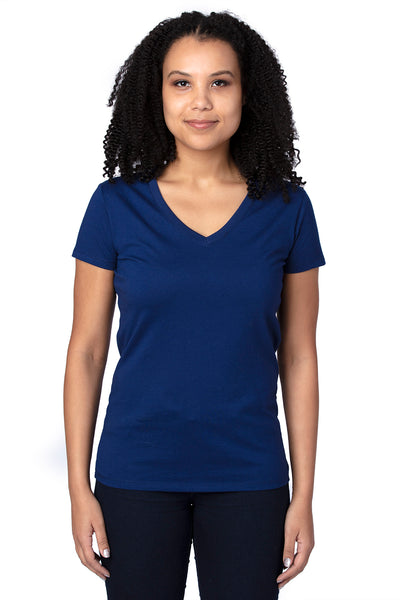 Threadfast Apparel 200RV Womens Ultimate Short Sleeve V-Neck T-Shirt Navy Blue Front
