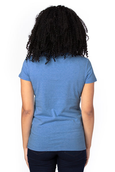 Threadfast Apparel 200RV Womens Ultimate Short Sleeve V-Neck T-Shirt Heather Royal Blue Back