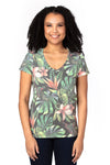 Threadfast Apparel 200RV Womens Ultimate Short Sleeve V-Neck T-Shirt Tropical Jungle Front