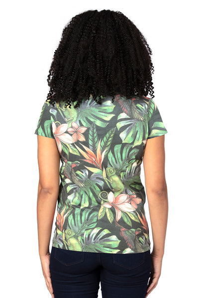 Threadfast Apparel 200RV Womens Ultimate Short Sleeve V-Neck T-Shirt Tropical Jungle Back