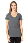 Threadfast Apparel 200RV Womens Ultimate Short Sleeve V-Neck T-Shirt Heather Charcoal Grey Front
