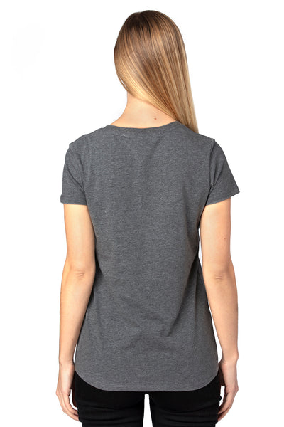 Threadfast Apparel 200RV Womens Ultimate Short Sleeve V-Neck T-Shirt Heather Charcoal Grey Back