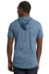 Next Level 2022 Mens Mock Twist Short Sleeve Hooded T-Shirt Hoodie Indigo Blue Back
