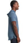 Next Level 2022 Mens Mock Twist Short Sleeve Hooded T-Shirt Hoodie Indigo Blue Side