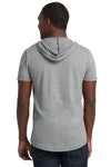 Next Level 2022 Mens Mock Twist Short Sleeve Hooded T-Shirt Hoodie Heather Grey Back