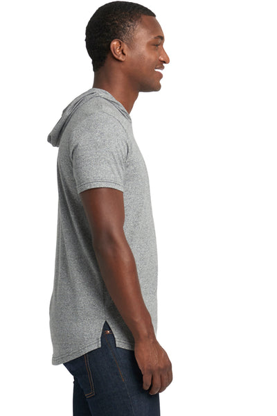 Next Level 2022 Mens Mock Twist Short Sleeve Hooded T-Shirt Hoodie Heather Grey Side