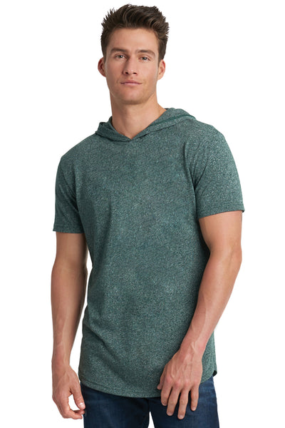 Next Level 2022 Mens Mock Twist Short Sleeve Hooded T-Shirt Hoodie Forest Green Front