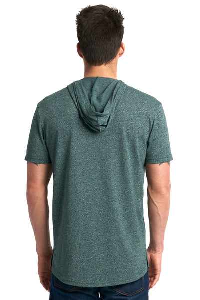 Next Level 2022 Mens Mock Twist Short Sleeve Hooded T-Shirt Hoodie Forest Green Back