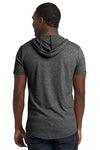 Next Level 2022 Mens Mock Twist Short Sleeve Hooded T-Shirt Hoodie Black Back