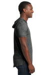 Next Level 2022 Mens Mock Twist Short Sleeve Hooded T-Shirt Hoodie Black Side