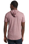 Next Level 2022 Mens Mock Twist Short Sleeve Hooded T-Shirt Hoodie Maroon Back