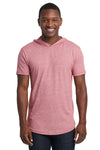 Next Level 2022 Mens Mock Twist Short Sleeve Hooded T-Shirt Hoodie Pink Front