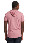 Next Level 2022 Mens Mock Twist Short Sleeve Hooded T-Shirt Hoodie Pink Back