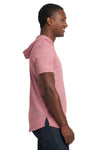 Next Level 2022 Mens Mock Twist Short Sleeve Hooded T-Shirt Hoodie Pink Side