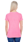Threadfast Apparel 202A Womens Short Sleeve Crewneck T-Shirt Neon Pink Back