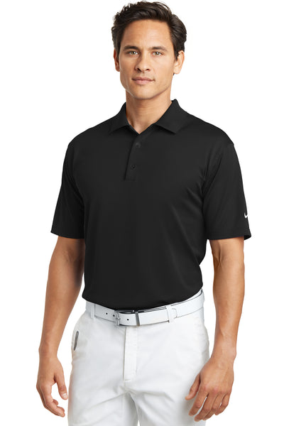 Nike 203690 Mens Tech Basic Dri-Fit Moisture Wicking Short Sleeve Polo Shirt Black Front
