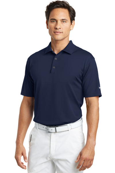 Nike 203690 Mens Tech Basic Dri-Fit Moisture Wicking Short Sleeve Polo Shirt Navy Blue Front
