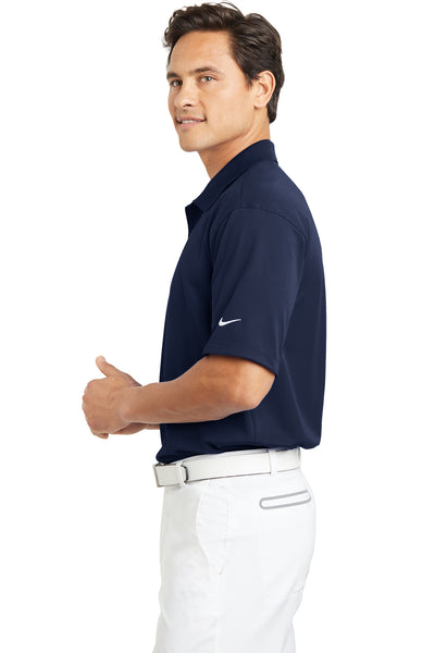 Nike 203690 Mens Tech Basic Dri-Fit Moisture Wicking Short Sleeve Polo Shirt Navy Blue Side