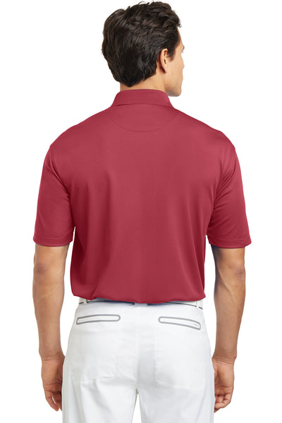 Nike 203690 Mens Tech Basic Dri-Fit Moisture Wicking Short Sleeve Polo Shirt Pro Red Back