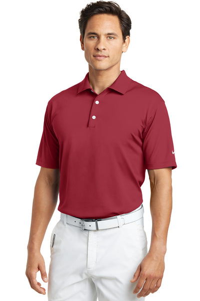 Nike 203690 Mens Tech Basic Dri-Fit Moisture Wicking Short Sleeve Polo Shirt Pro Red Front