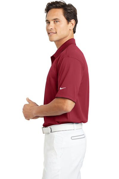 Nike 203690 Mens Tech Basic Dri-Fit Moisture Wicking Short Sleeve Polo Shirt Pro Red Side