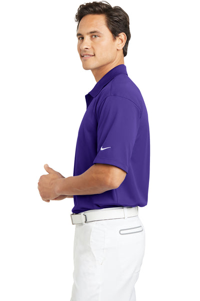 Nike 203690 Mens Tech Basic Dri-Fit Moisture Wicking Short Sleeve Polo Shirt Purple Side