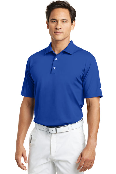 Nike 203690 Mens Tech Basic Dri-Fit Moisture Wicking Short Sleeve Polo Shirt Royal Blue Front