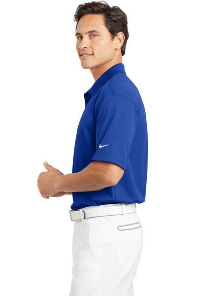 Nike 203690 Mens Tech Basic Dri-Fit Moisture Wicking Short Sleeve Polo Shirt Royal Blue Side