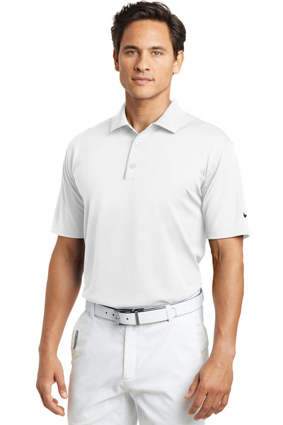 Nike 203690 Mens Tech Basic Dri-Fit Moisture Wicking Short Sleeve Polo Shirt White Front