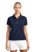 Nike 203697 Womens Tech Basic Dri-Fit Moisture Wicking Short Sleeve Polo Shirt Navy Blue Front